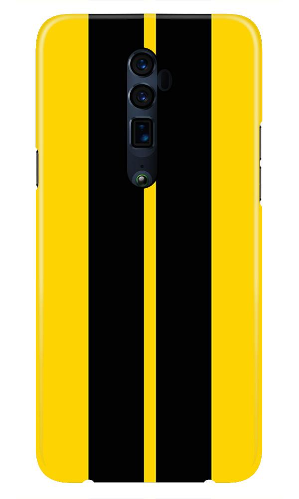 Black Yellow Pattern Mobile Back Case for Oppo Reno 10X Zoom  (Design - 377)