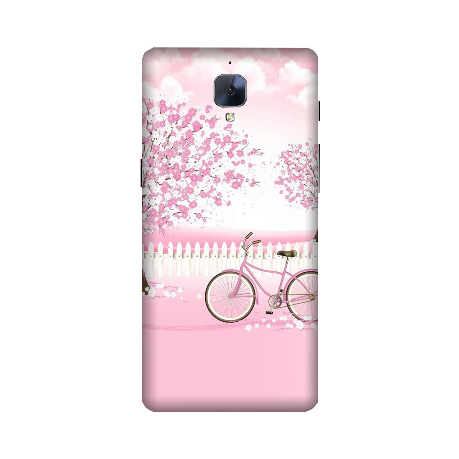 Pink Flowers Cycle Case for OnePlus 3/ 3T  (Design - 102)