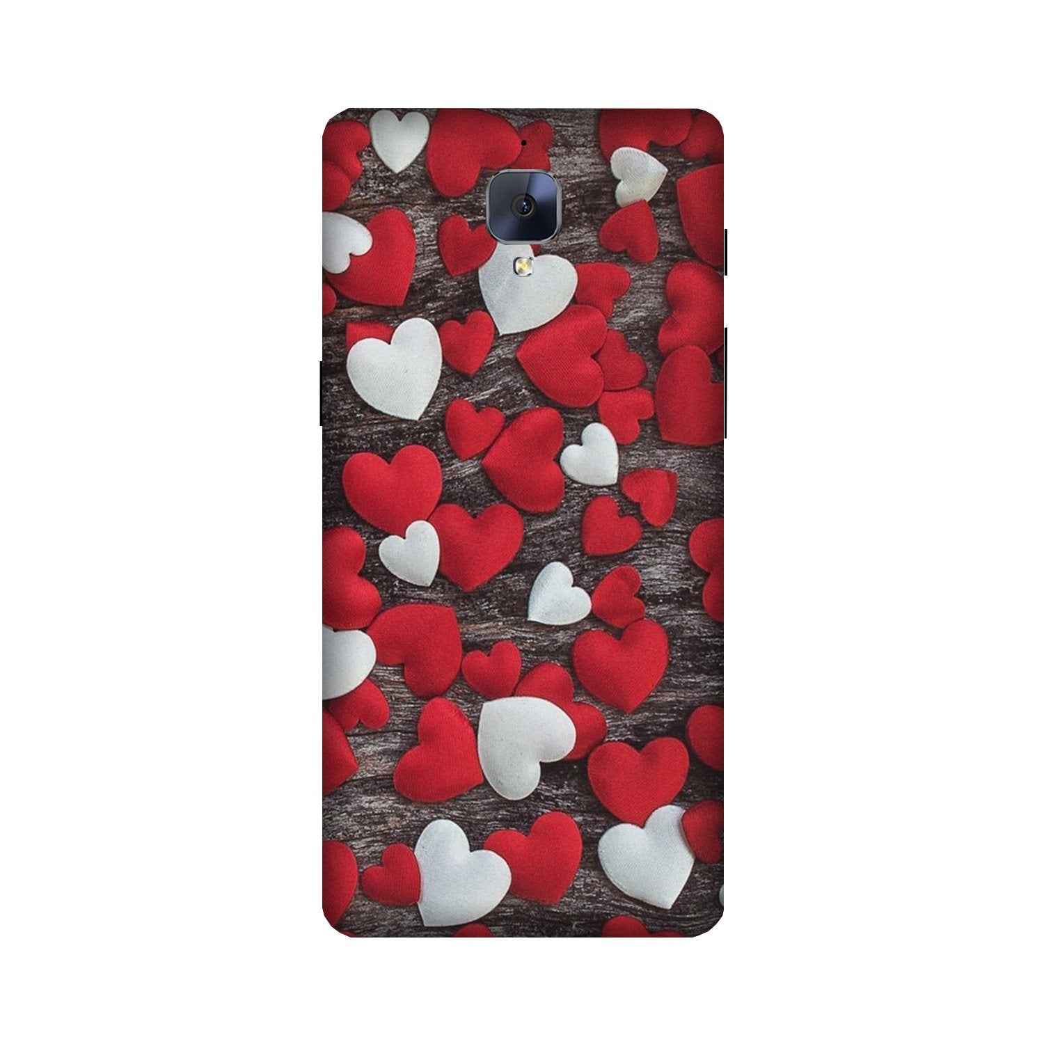Red White Hearts Case for OnePlus 3/ 3T  (Design - 105)
