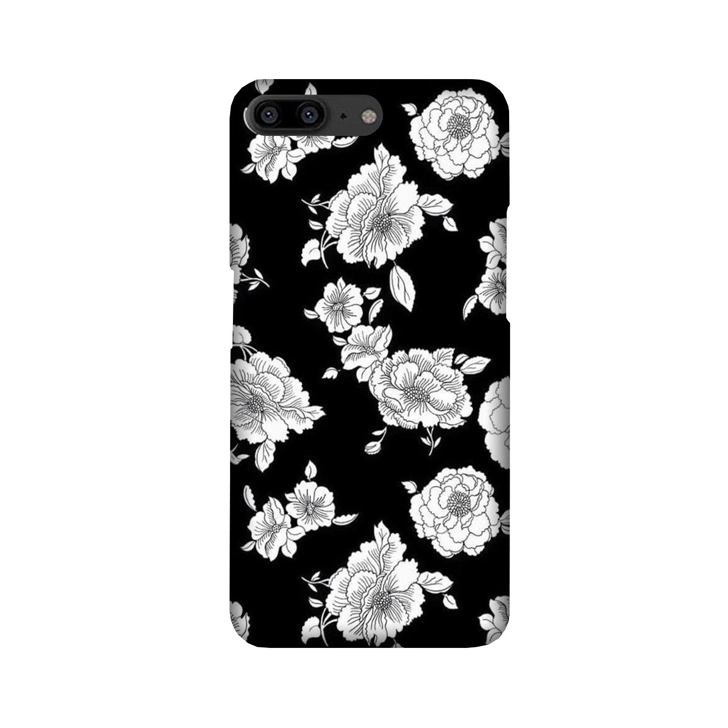White flowers Black Background Case for OnePlus 5