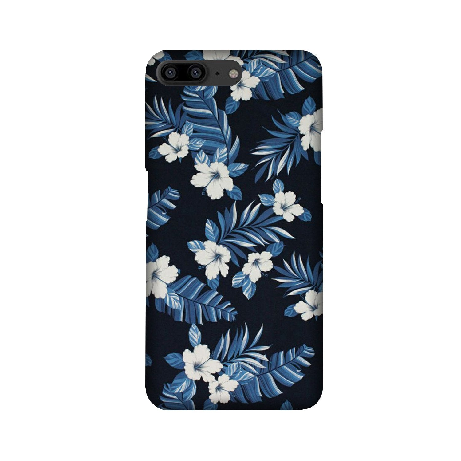 White flowers Blue Background2 Case for OnePlus 5