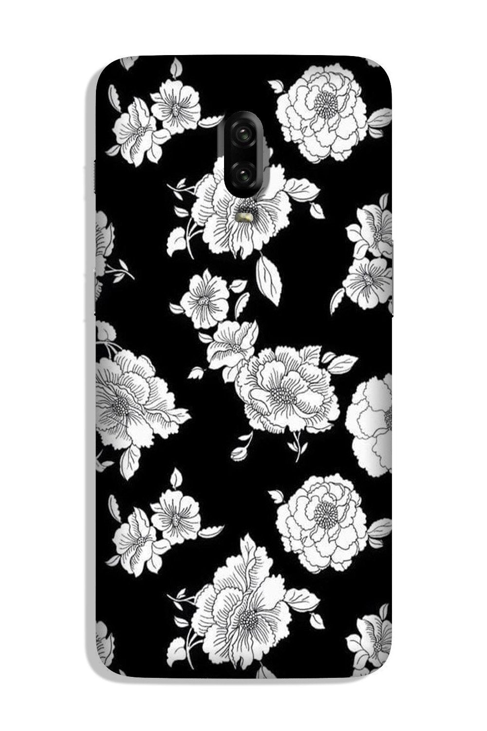 White flowers Black Background Case for OnePlus 7