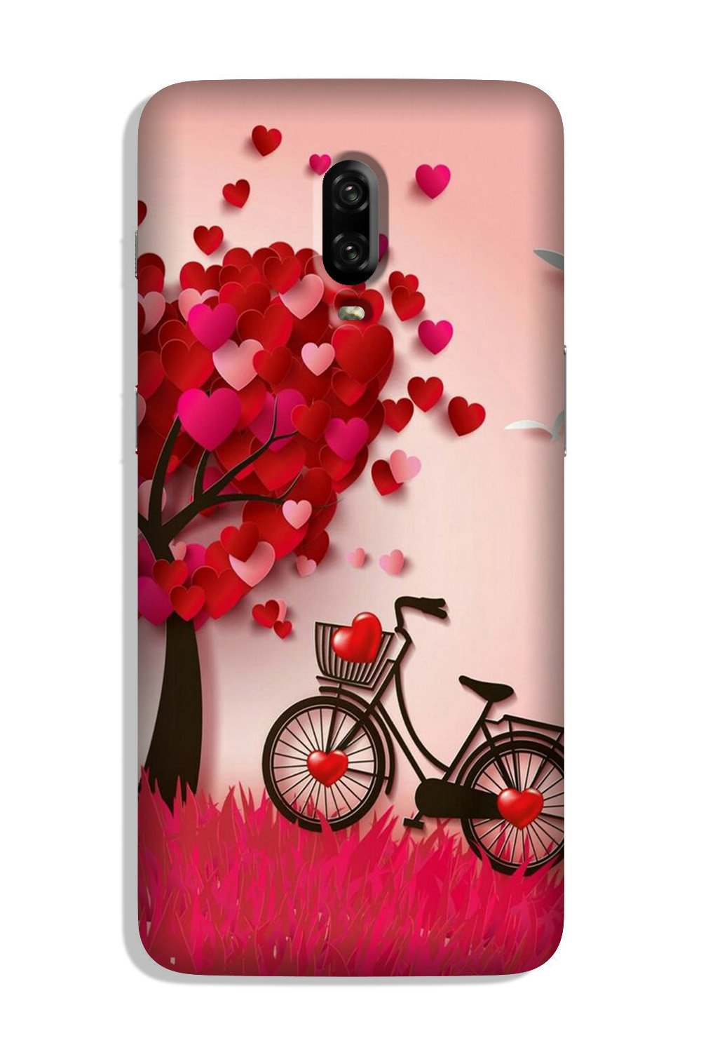 Red Heart Cycle Case for OnePlus 6T (Design No. 222)