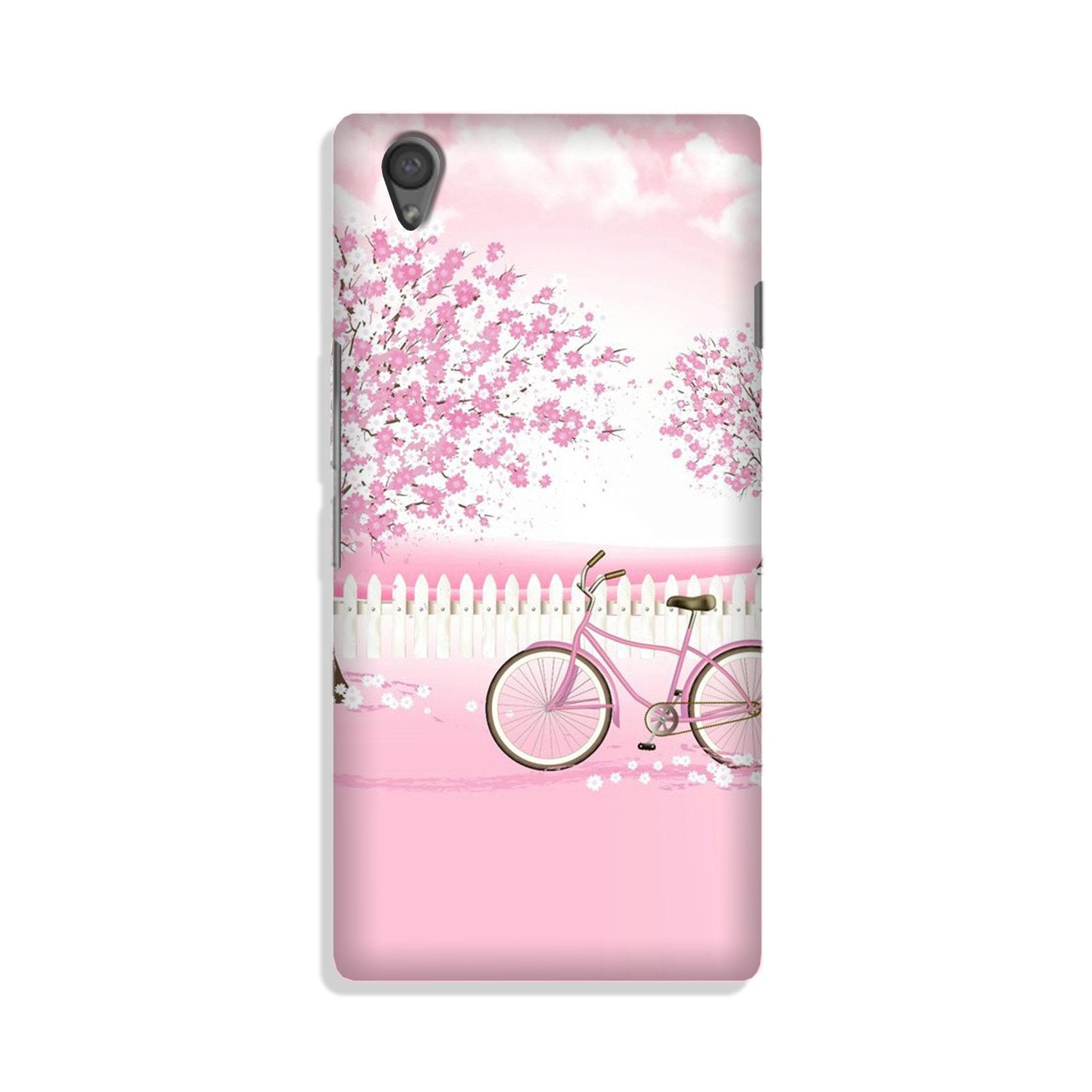 Pink Flowers Cycle Case for Vivo Y51L  (Design - 102)