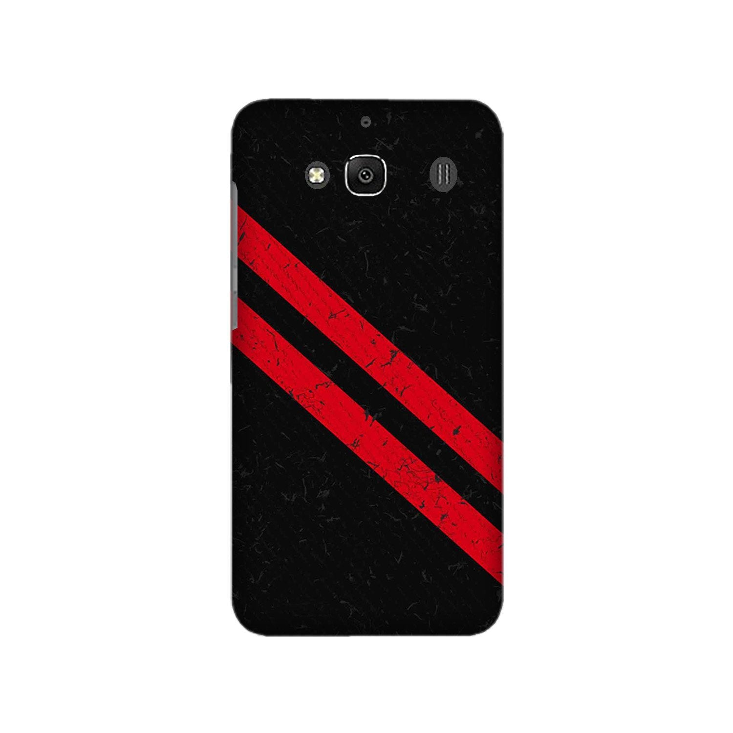 Black Red Pattern Mobile Back Case for Redmi 2 Prime  (Design - 373)