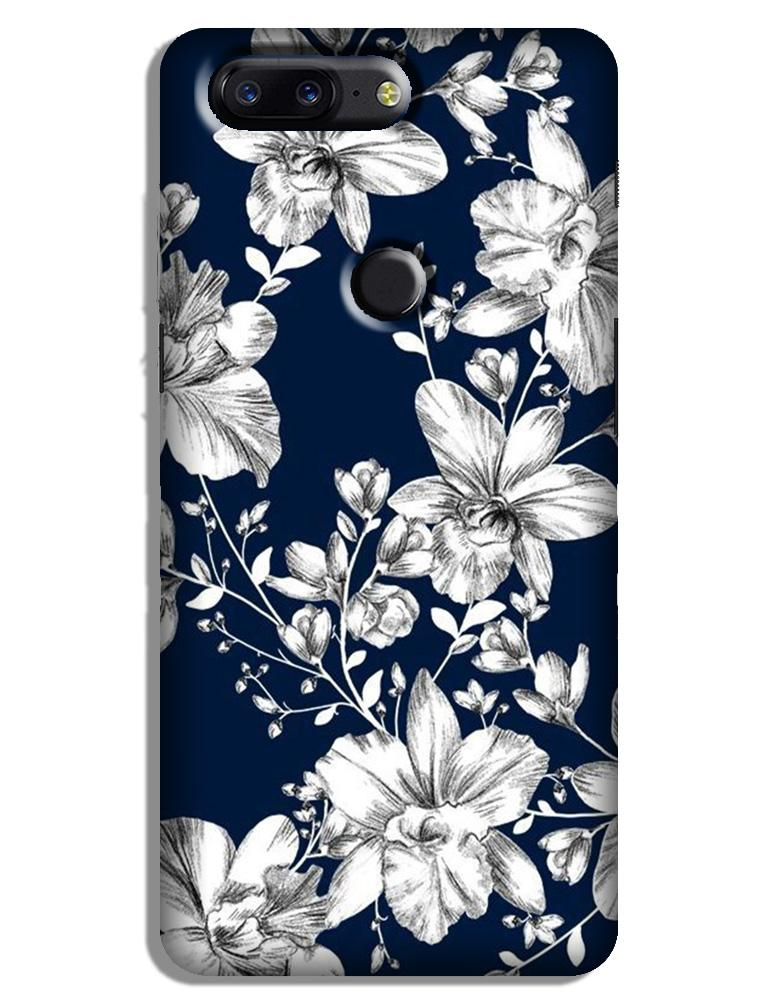 White flowers Blue Background Case for OnePlus 5T