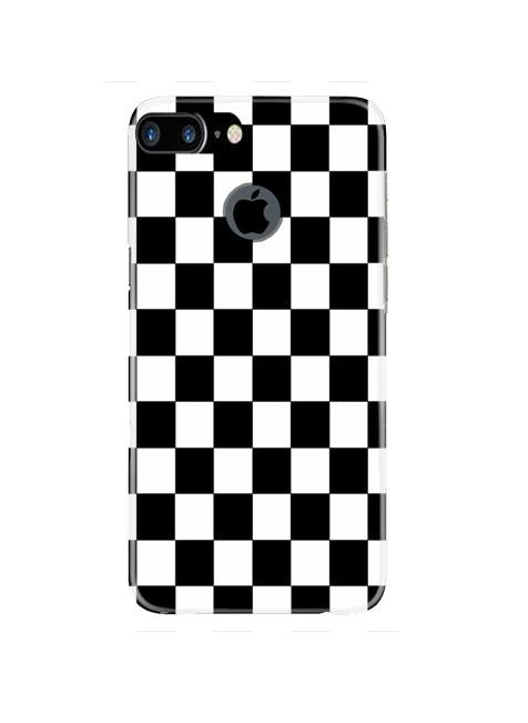 Black White Boxes Mobile Back Case for iPhone 7 Plus Logo Cut  (Design - 372)