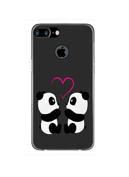 Panda Love Mobile Back Case for iPhone 7 Plus Logo Cut  (Design - 398)