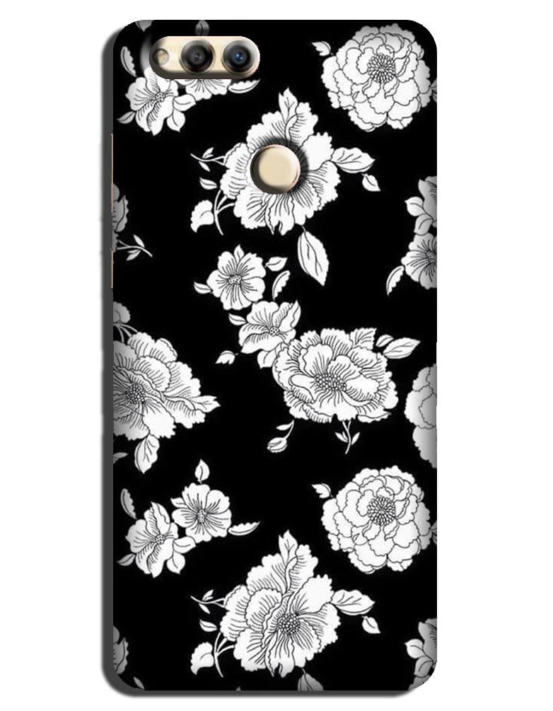 White flowers Black Background Case for Honor 7X