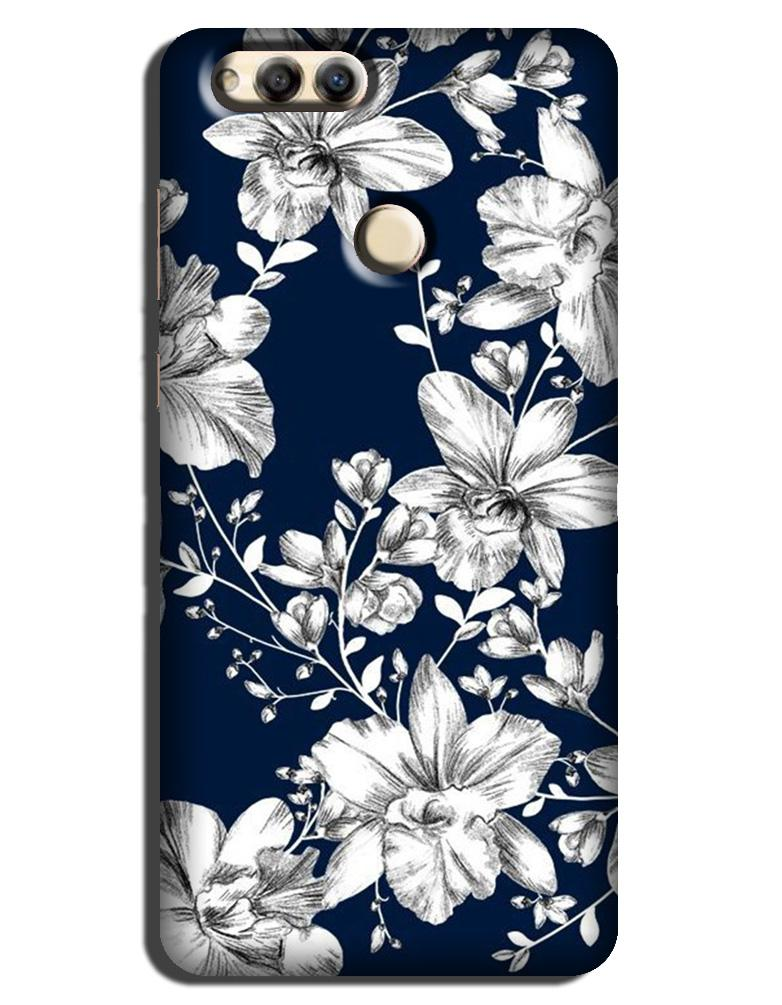 White flowers Blue Background Case for Honor 7X