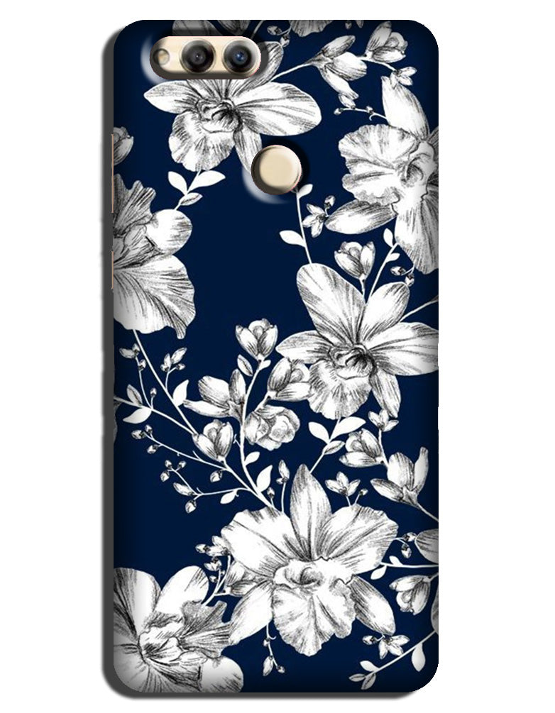 White flowers Blue Background Case for Mi A1