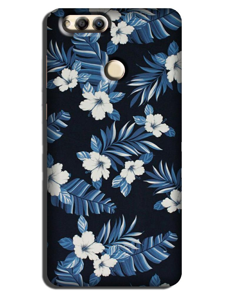 White flowers Blue Background2 Case for Honor 7X