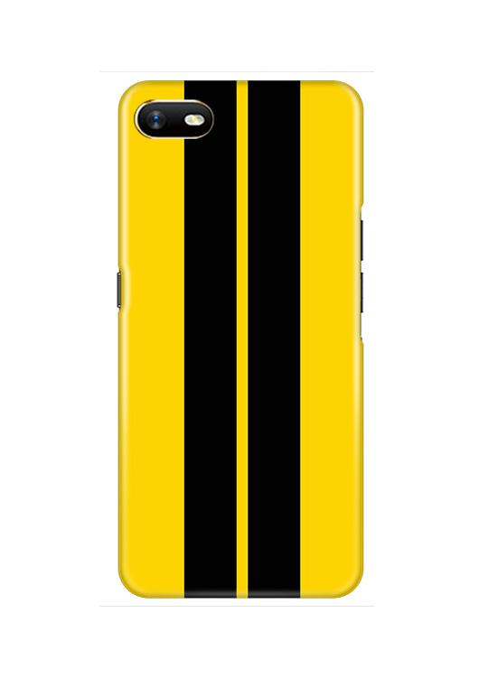 Black Yellow Pattern Mobile Back Case for Oppo A1K  (Design - 377)
