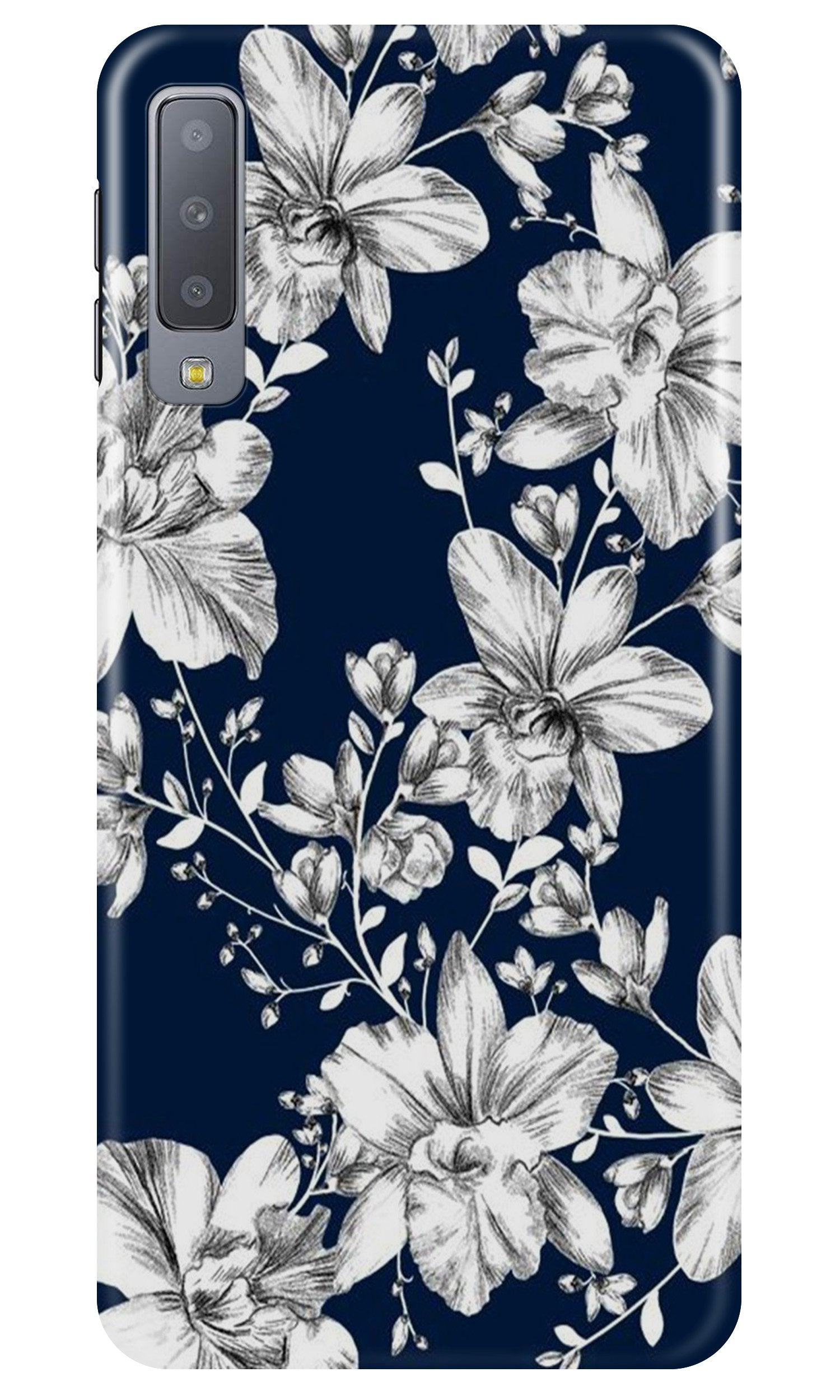 White flowers Blue Background Case for Samsung A50