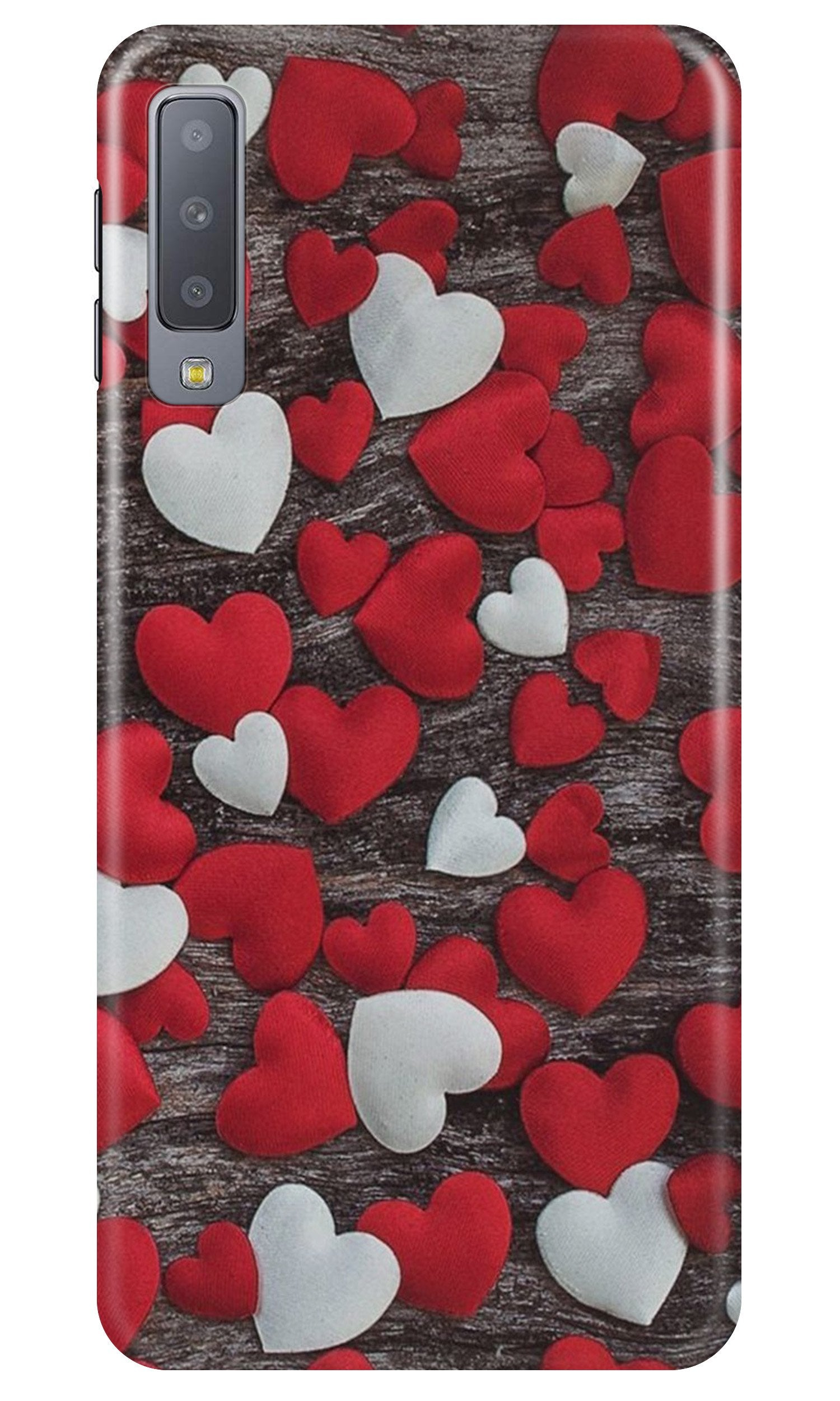 Red White Hearts Case for Samsung A50  (Design - 105)