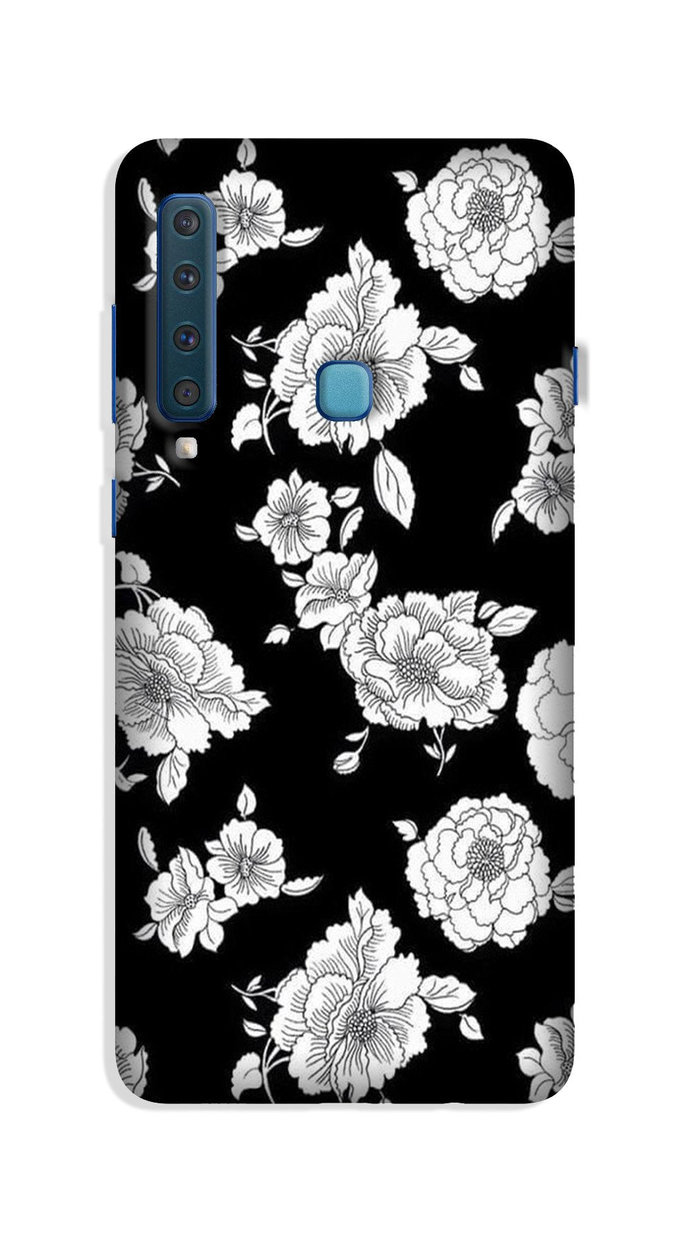 White flowers Black Background Case for Galaxy A9 (2018)