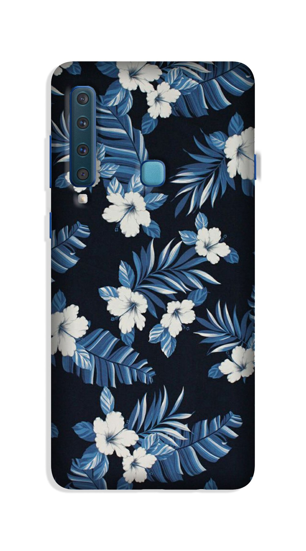 White flowers Blue Background2 Case for Galaxy A9 (2018)