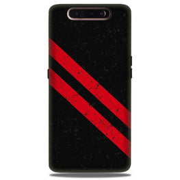 Black Red Pattern Mobile Back Case for Samsung Galaxy A80  (Design - 373)