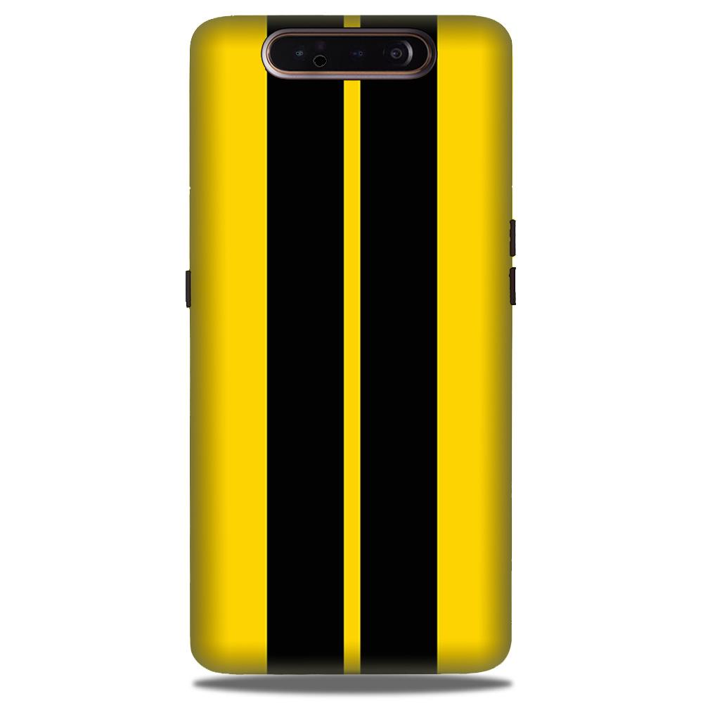 Black Yellow Pattern Mobile Back Case for Samsung Galaxy A90  (Design - 377)