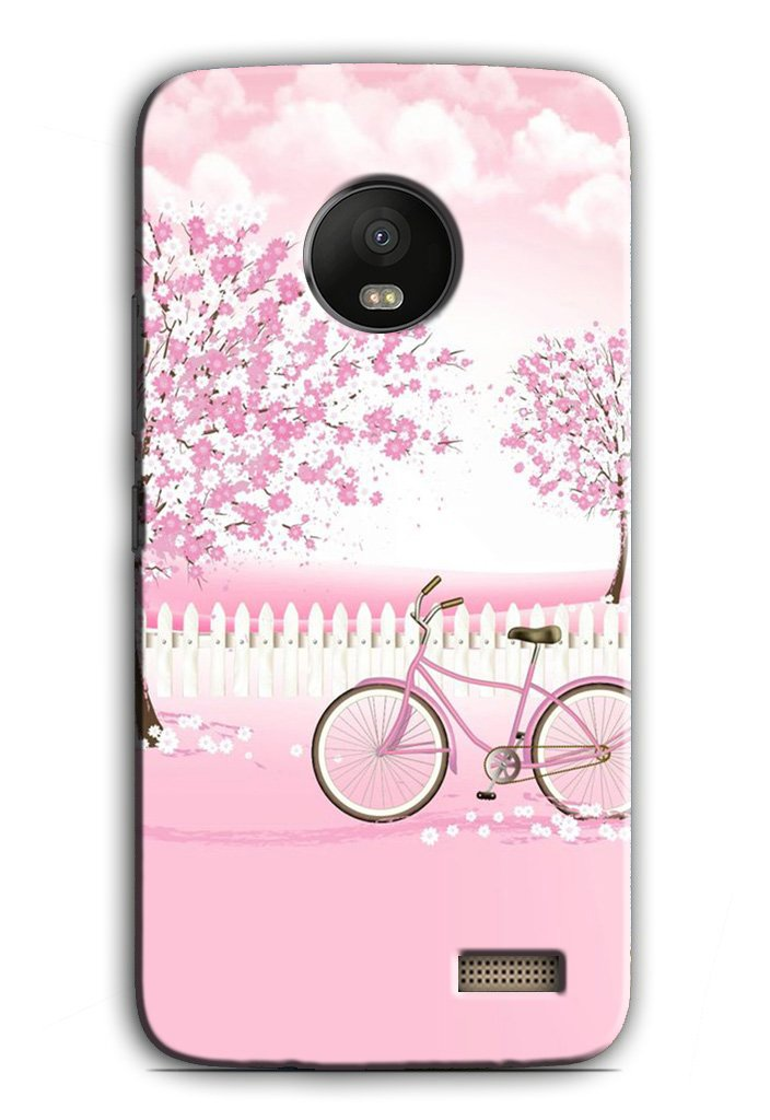 Pink Flowers Cycle Case for Moto E4  (Design - 102)