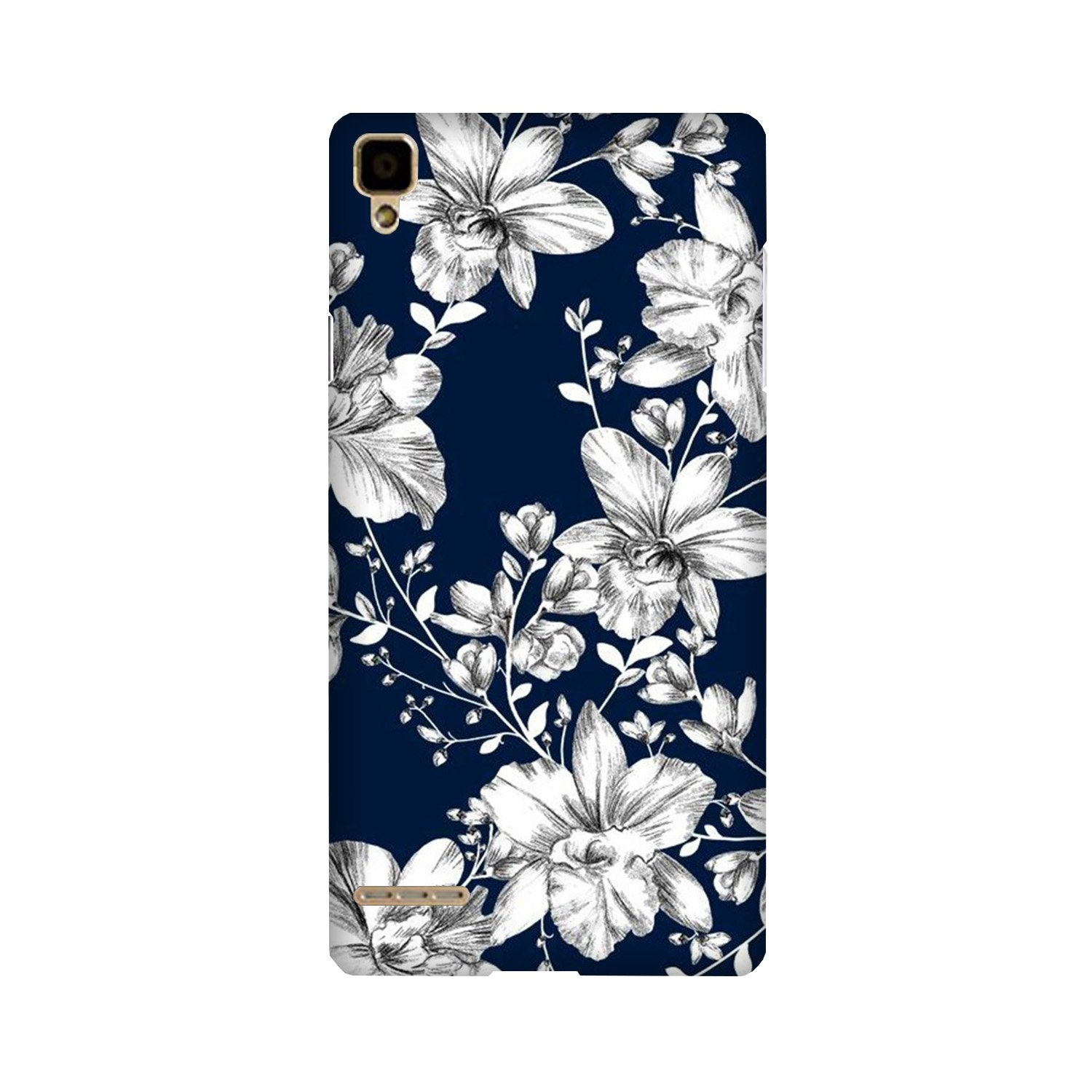 White flowers Blue Background Case for Oppo F1