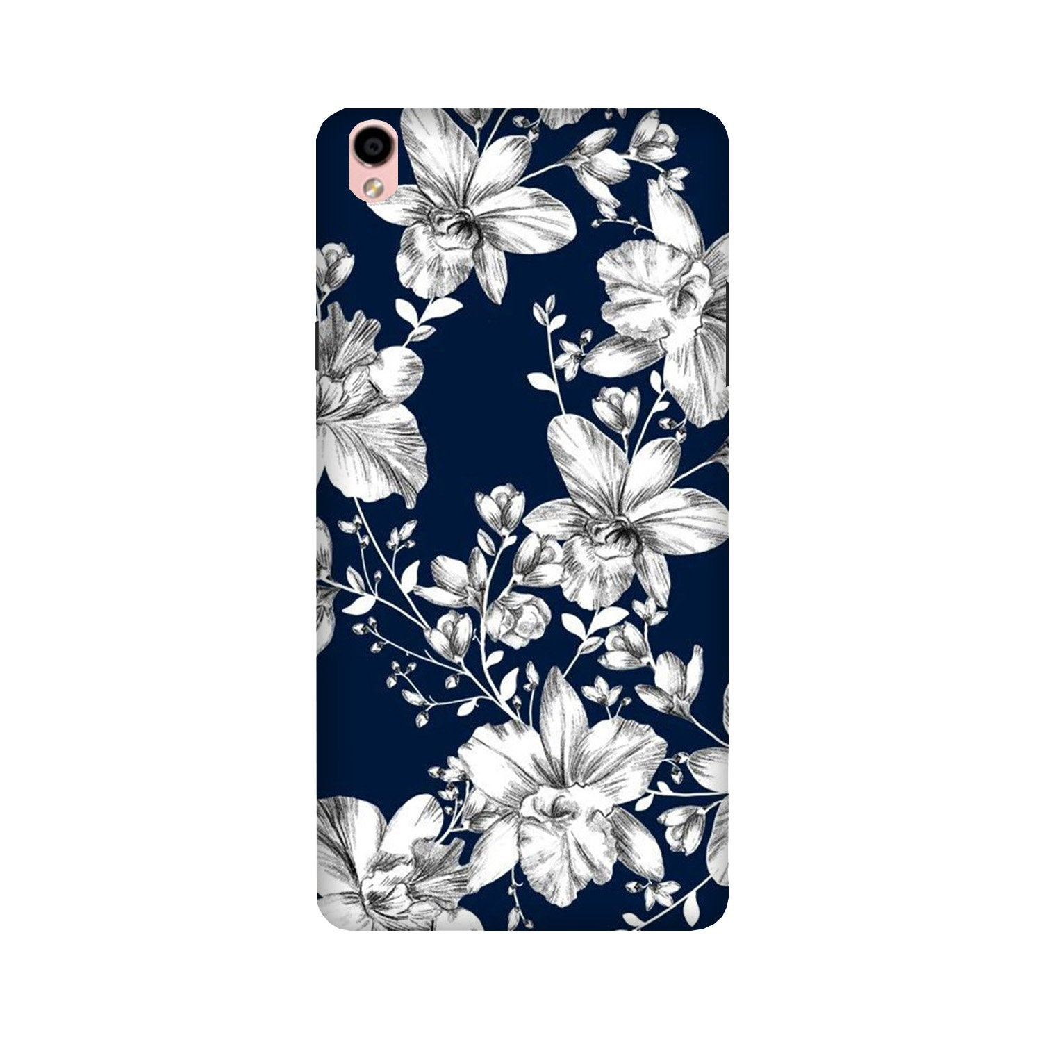 White flowers Blue Background Case for Oppo F1 Plus