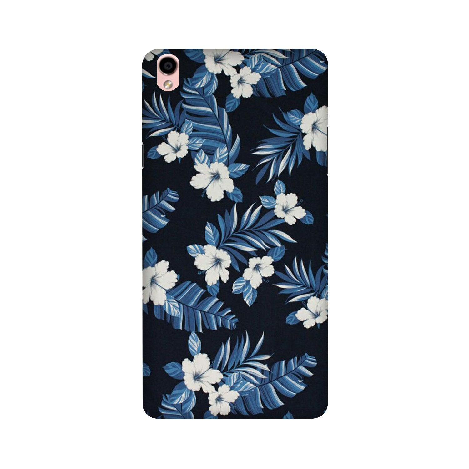 White flowers Blue Background2 Case for Oppo F1 Plus