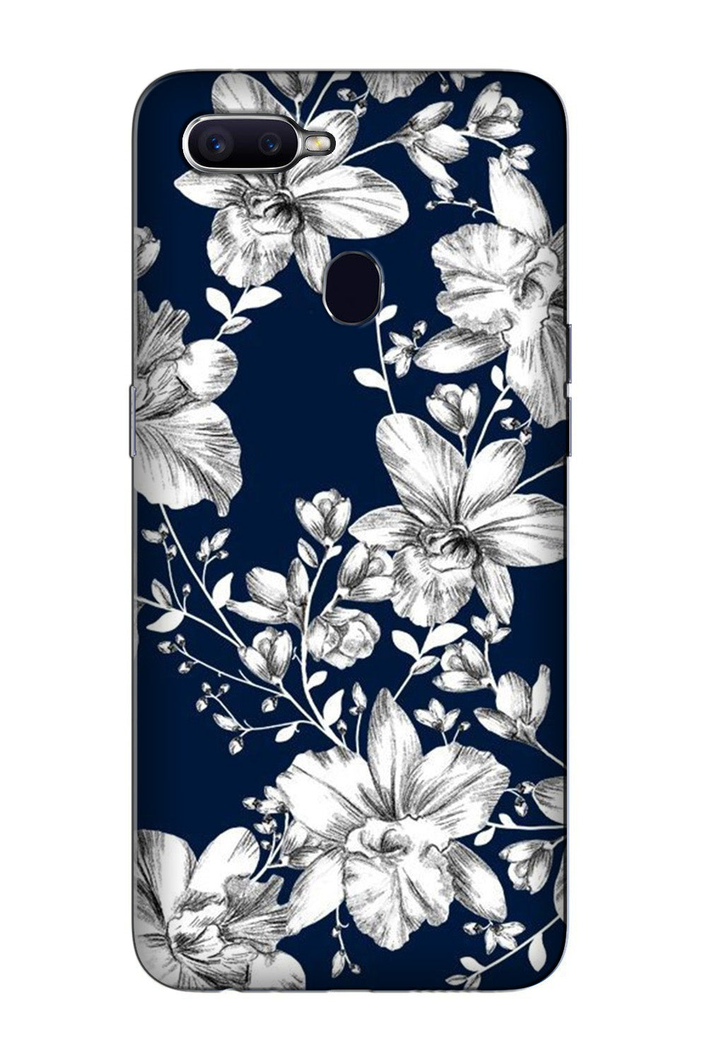 White flowers Blue Background Case for Oppo F7