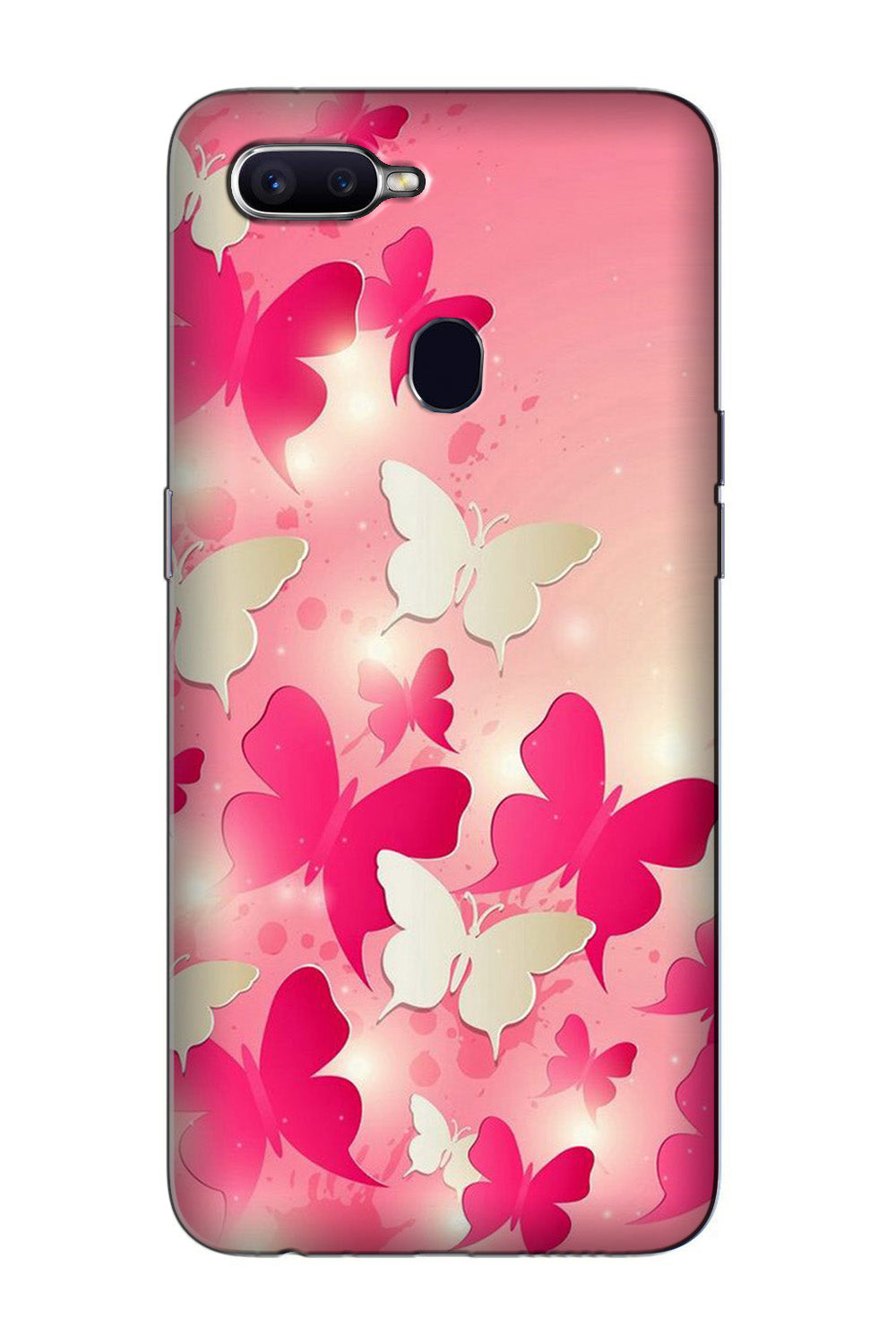 White Pick Butterflies Case for Oppo F9 Pro