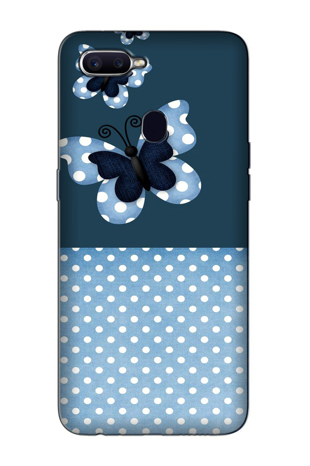 White dots Butterfly Case for Oppo F9 Pro