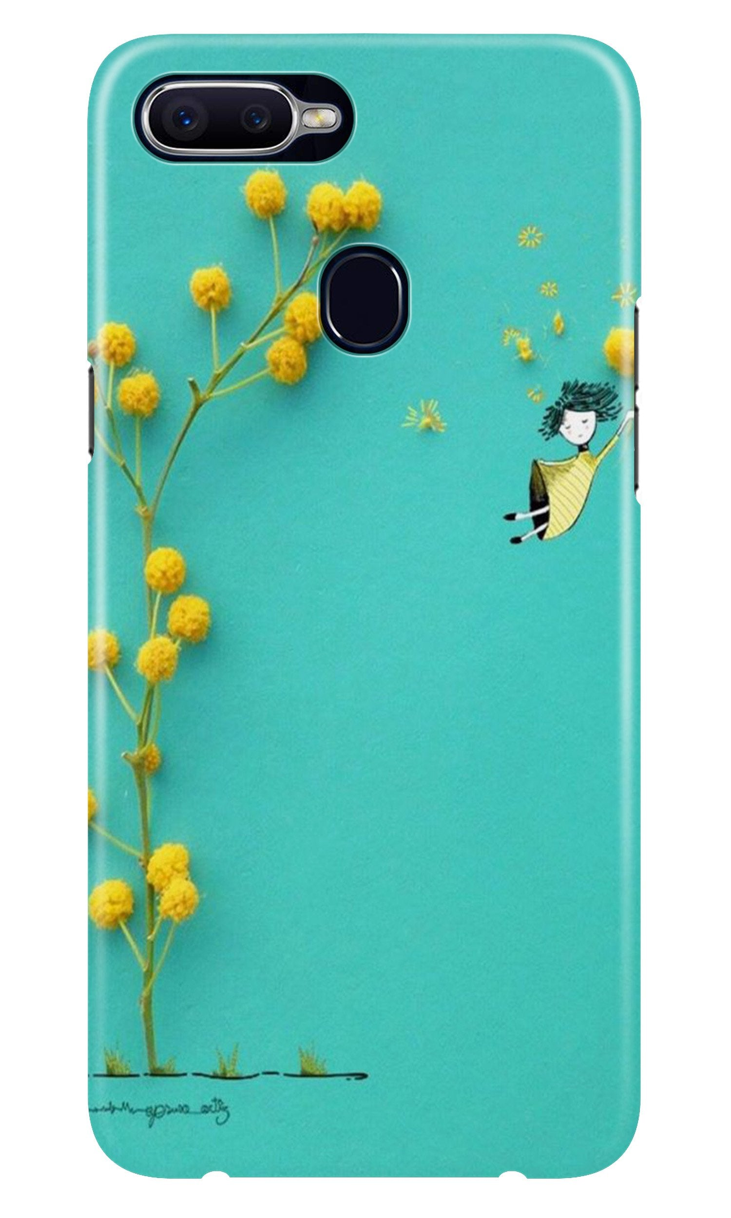 Flowers Girl Case for Oppo A7 (Design No. 216)