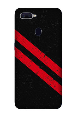 Black Red Pattern Mobile Back Case for Realme 2  (Design - 373)