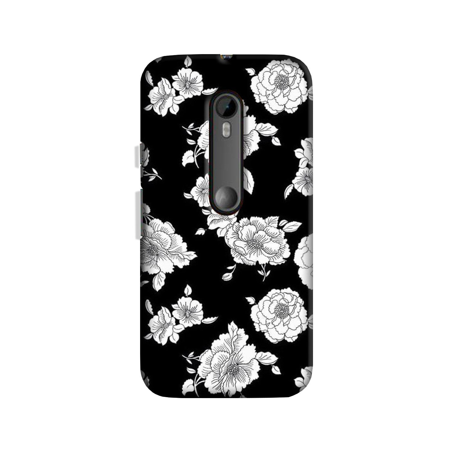 White flowers Black Background Case for Moto G 3rd Gen