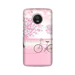 Pink Flowers Cycle Case for Moto G5 Plus  (Design - 102)