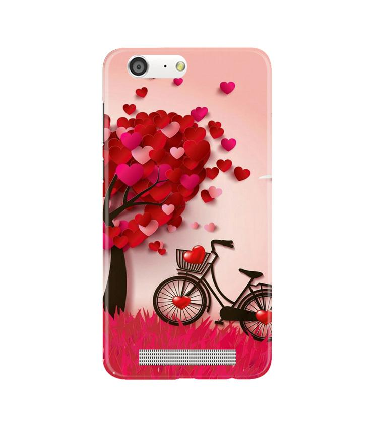 Red Heart Cycle Case for Gionee M5 (Design No. 222)