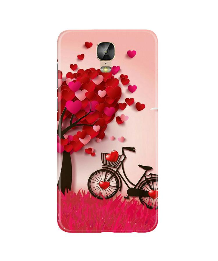Red Heart Cycle Case for Gionee M5 Plus (Design No. 222)