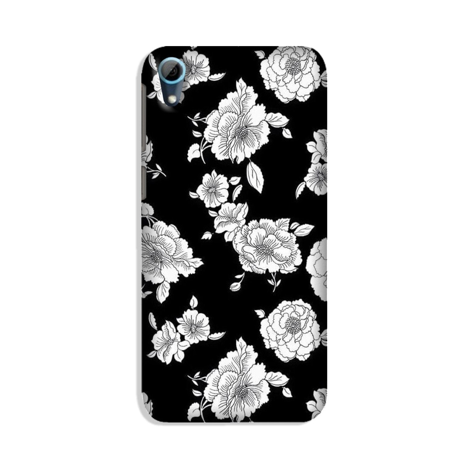 White flowers Black Background Case for HTC Desire 826