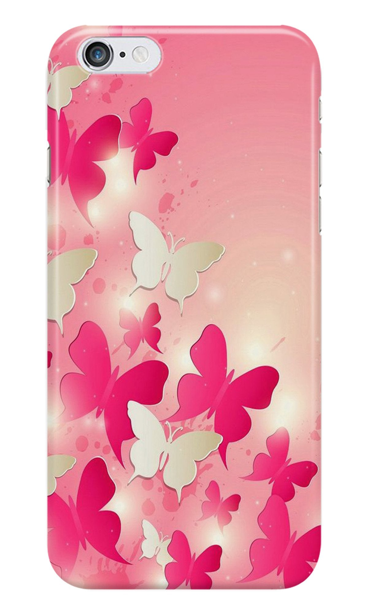 White Pick Butterflies Case for iPhone 6/ 6s