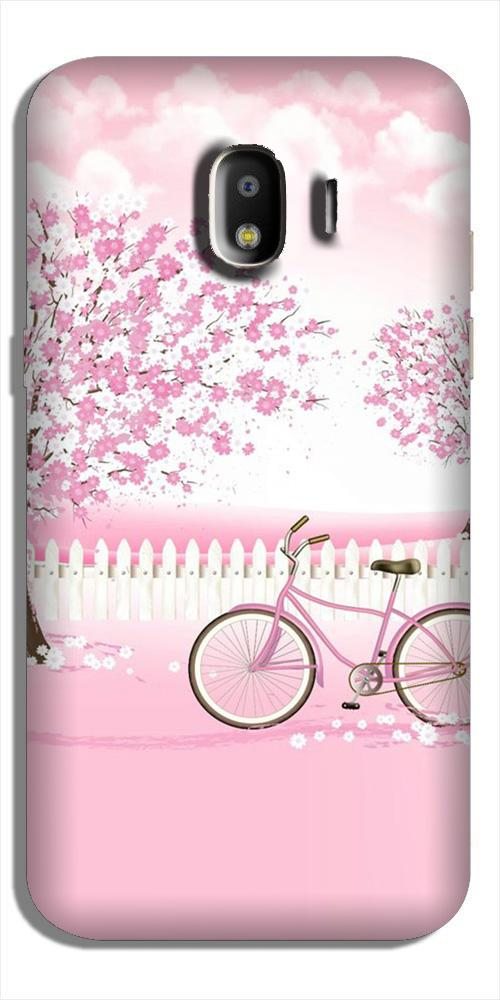 Pink Flowers Cycle Case for Galaxy J2 (2018)  (Design - 102)