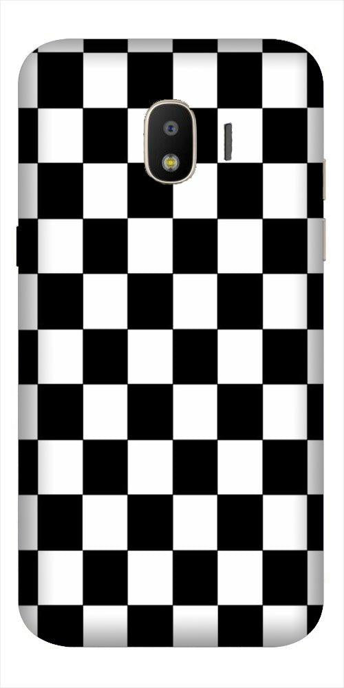 Black White Boxes Mobile Back Case for Galaxy J2 2018   (Design - 372)