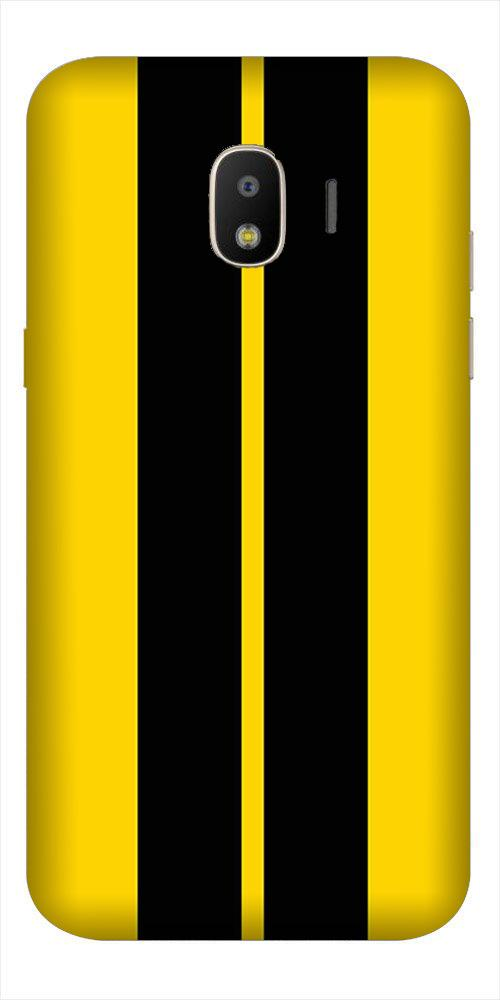 Black Yellow Pattern Mobile Back Case for Galaxy J2 2018   (Design - 377)