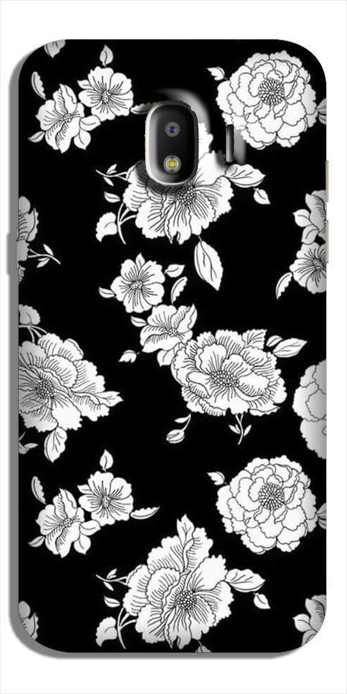 White flowers Black Background Case for Galaxy J2 Core