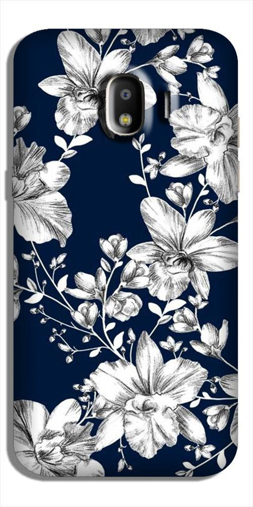 White flowers Blue Background Case for Galaxy J2 (2018)