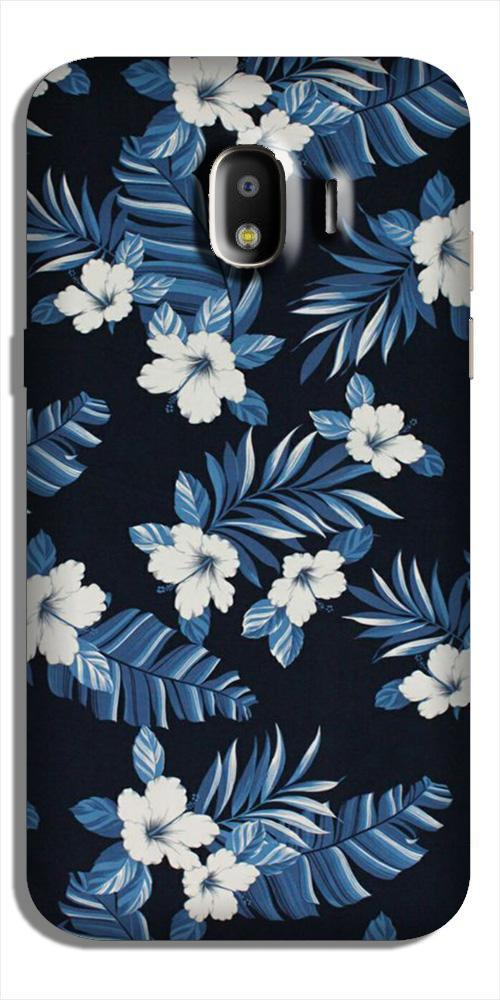 White flowers Blue Background2 Case for Galaxy J4