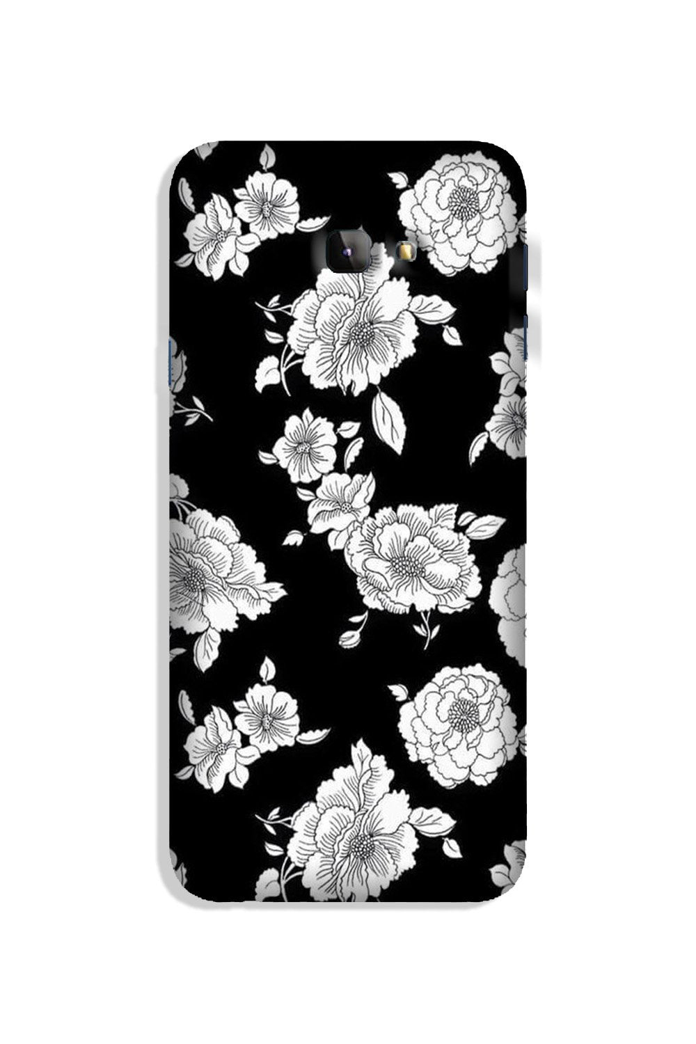 White flowers Black Background Case for Galaxy J4 Plus