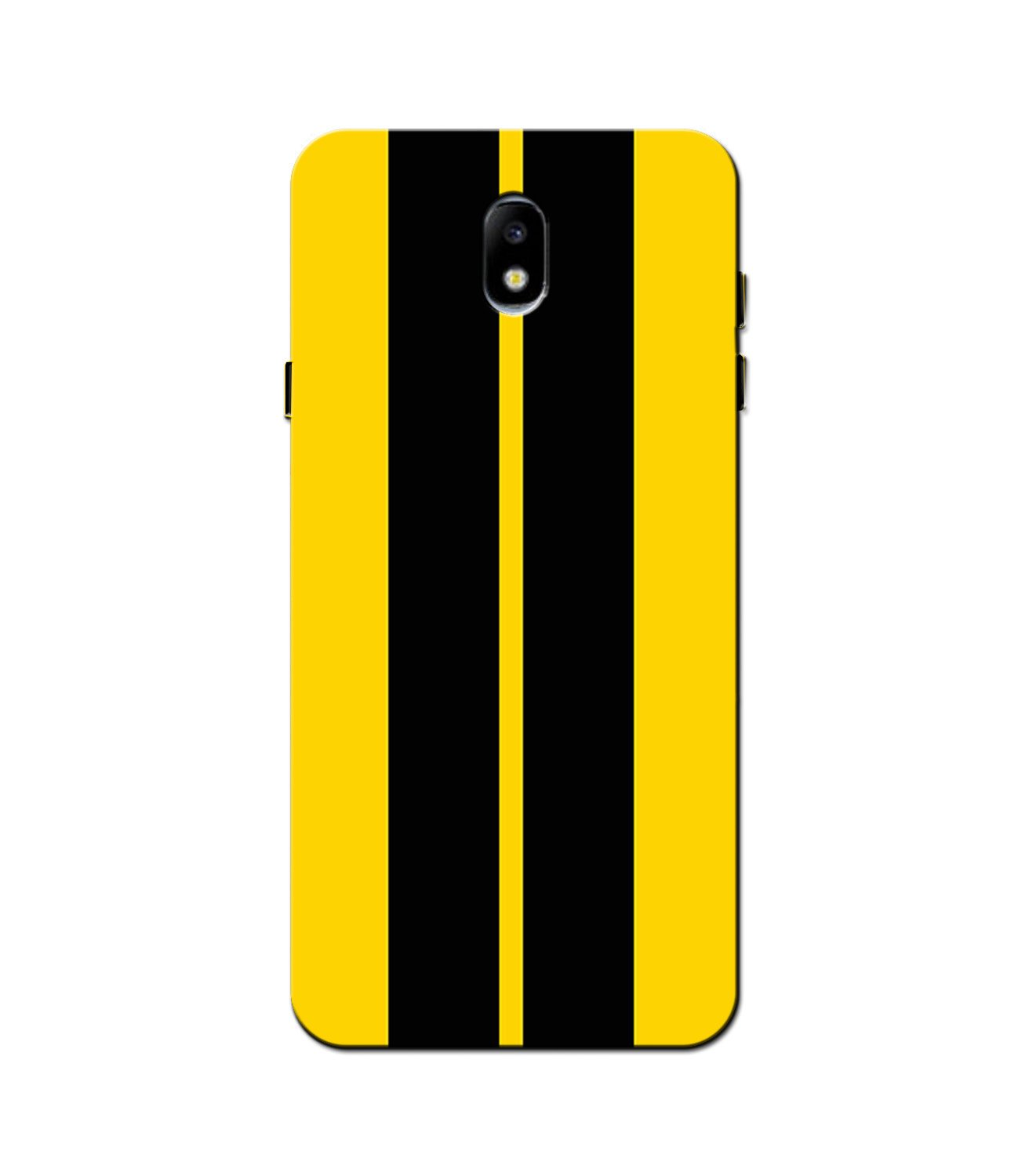 Black Yellow Pattern Mobile Back Case for Galaxy J3 Pro  (Design - 377)