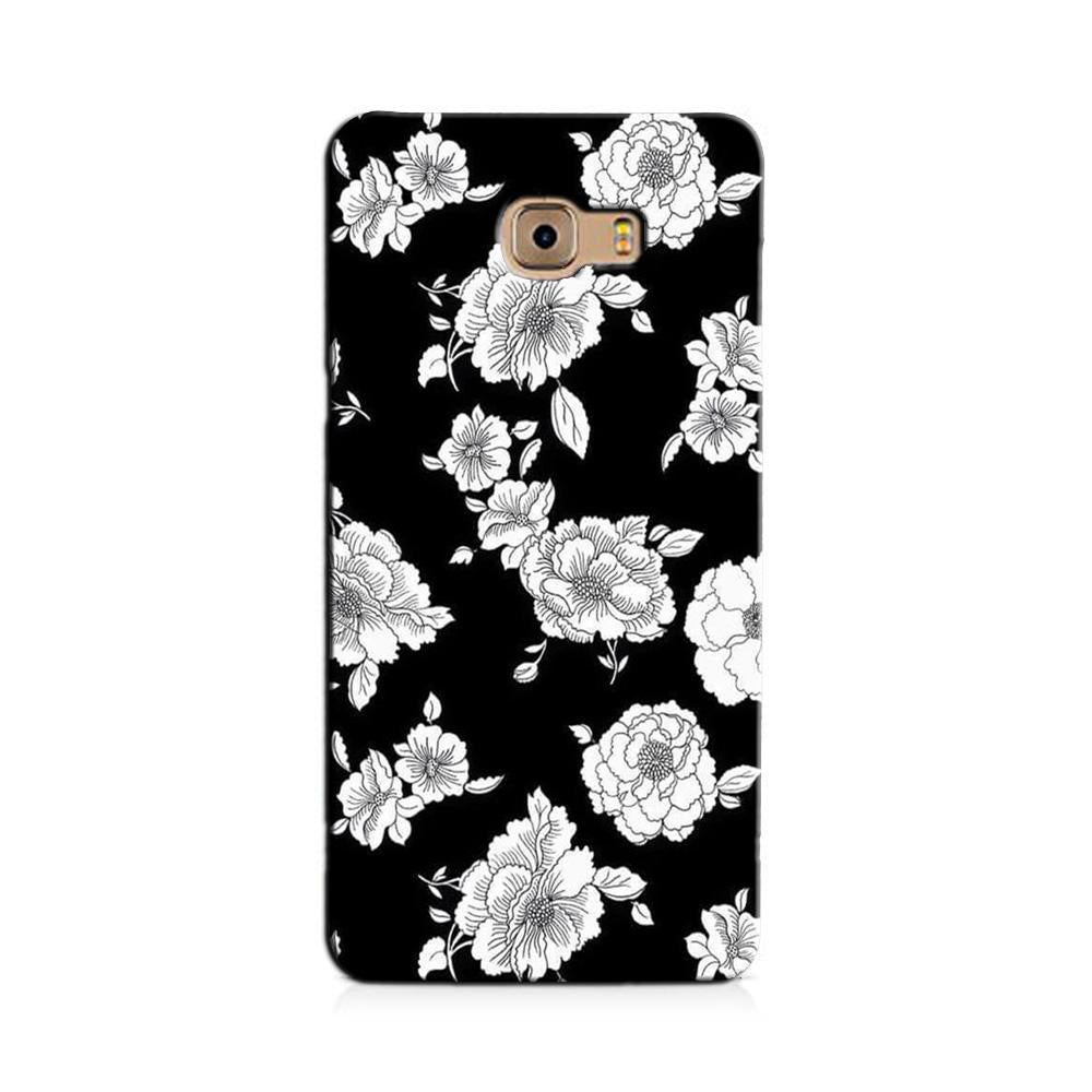 White flowers Black Background Case for Galaxy J7 Prime