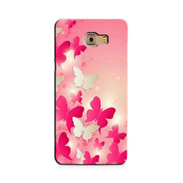 White Pick Butterflies Case for Galaxy C7/ C7 Pro