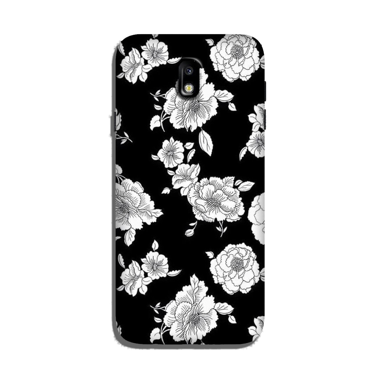 White flowers Black Background Case for Galaxy J5 Pro