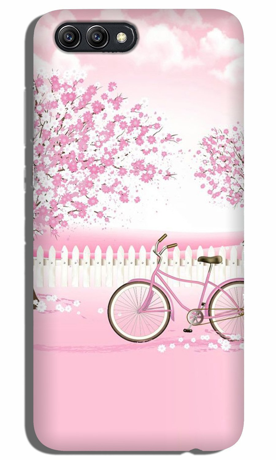 Pink Flowers Cycle Case for Oppo A3s  (Design - 102)